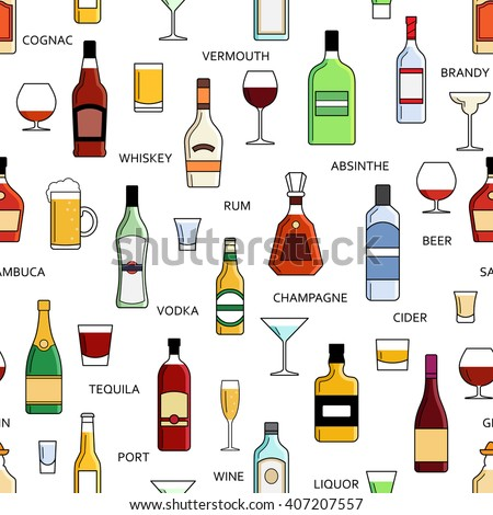 Vector alcohol bottles collection seamless pattern illustration. Vodka champagne wine whiskey beer brandy tequila cognac liquor martini vermouth gin rum absinthe sambuca cider port.