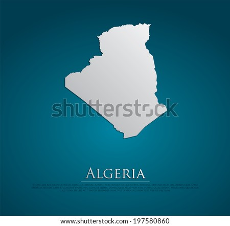 vector Algeria Map card paper on blue background, high detailed - stock vector