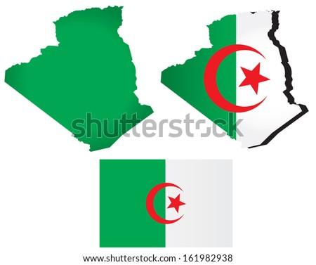 Vector Algeria map with flag - stock vector