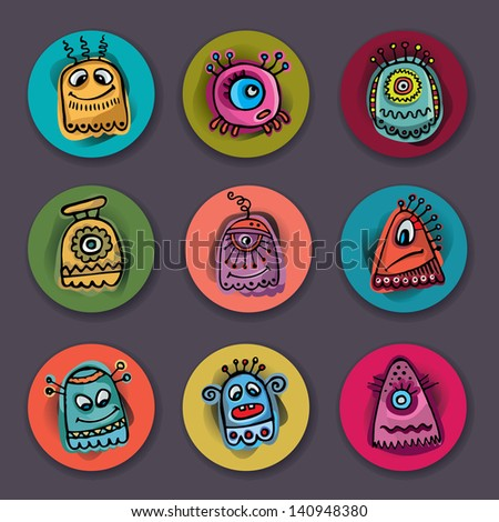 Vector aliens and monsters set - stock vector