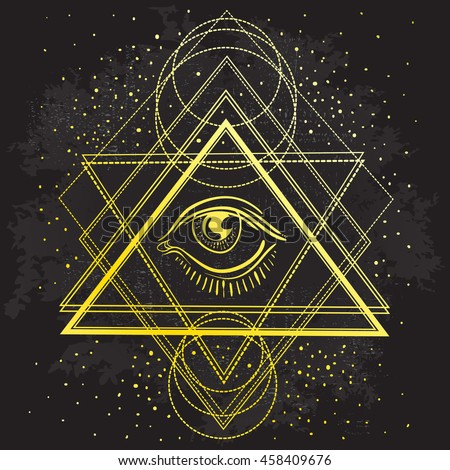 Vector All Seeing Eye Symbol On Stock Vector 458409676
