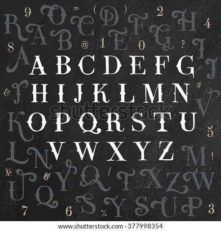 Vector alphabet and numbers set. Handwriting white letters and signs in vintage chalk style on black background - stock vector