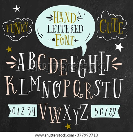 Vector alphabet and numbers set. Handwriting white letters and signs in vintage chalk style on black background. Ideal for use as headline or sub-head text in you design. - stock vector