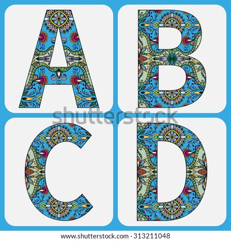 Vector alphabet, capital letters with floral and geometric ornament. Tribal ethnic decorative elements with hand drawn texture for Wedding, Bridal, Valentine's day or Birthday Invitation cards design - stock vector