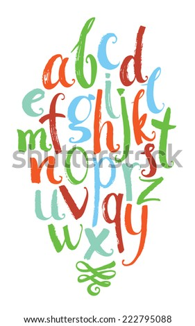 Vector alphabet. Colorful hand drawn letters written with a brush - stock vector