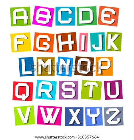 Vector Alphabet - Colorful Paper Sheets