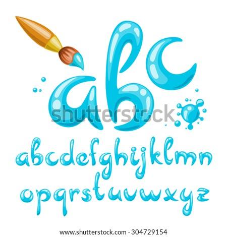 Vector alphabet. Cool vector font. Cartoon letters.  - stock vector