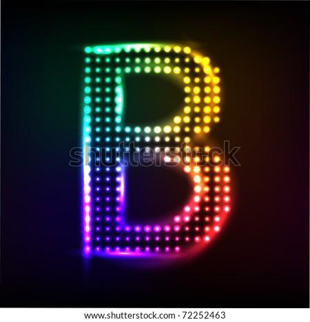 Vector alphabet. Disco letter B - stock vector
