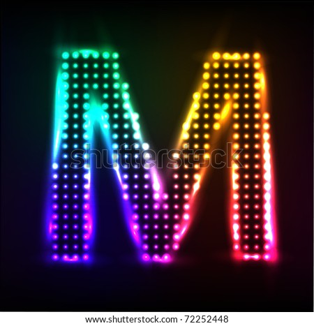 Vector alphabet. Disco letter M - stock vector