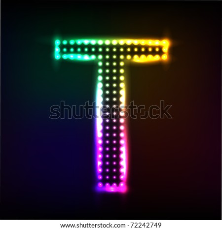 Vector alphabet. Disco letter T