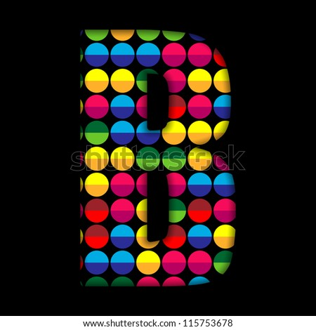 Vector - Alphabet Dots Color on Black Background B - stock vector