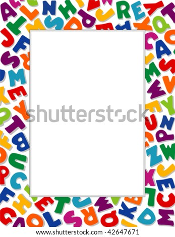 vector - Alphabet Frame, White Background: Copy space for education, literacy, back to school announcements, posters, fliers, stationery, scrapbooks, albums. EPS8 organized in groups for easy editing. - stock vector