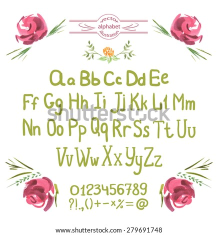 Vector Alphabet. Hand Drawn Green Letters and Flowers. Watercolor ABC Painted Font. Sketched Characters Alphabet on a isolated background. Letters of the alphabet written with a brush - stock vector