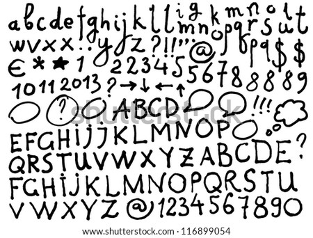 Vector alphabet. Hand drawn letters and numbers. The letters are drawn with a felt-tip or flip chart pen. - stock vector