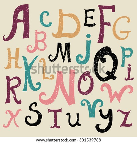 Vector alphabet. Hand drawn letters. Letters of the alphabet. ABC for your design. Easy to use and edit letters. - stock vector