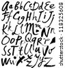 Vector alphabet. Hand drawn letters. Letters of the alphabet written with a brush. - stock photo