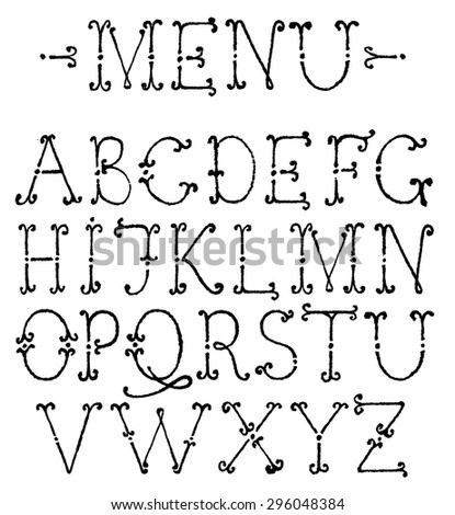 Vector alphabet. Hand drawn letters. The letters are drawn with a ballpoint pen. Menu font.  - stock vector