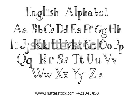 Handwriting English Alphabet Upper Lower Cases Stock Vector ...