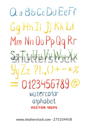 hand drawn watercolor letters watercolor abc painted font vector illustration of