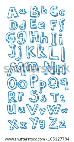 vector alphabet in blue outline