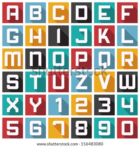 Vector Alphabet in Modern Icon Style. Also Can be Used as Pattern, Background or Icons