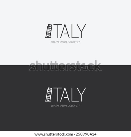 Vector alphabet italy design concept with flat sign icon/ can be used for travel publishing or web design layout. - stock vector