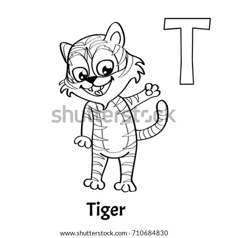 Vector Alphabet Letter T Coloring Page Stock Vector 710684830 ...