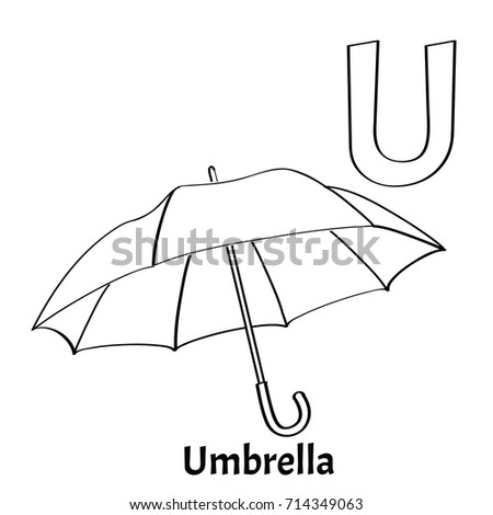 vector alphabet letter u coloring page umbrella
