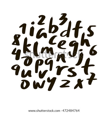 Vector Alphabet letters.Black handwritten font drawn with liquid ink and brush.Calligraphic script