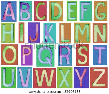 vector alphabet letters made from paper and watercolor