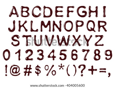 vector alphabet letters, numbers and symbols made of chocolate syrup - stock vector
