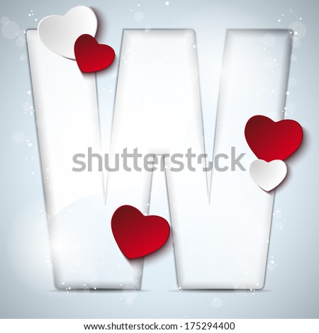 U Alphabet In Heart Vector - Alphabet Letters With Red Heart Valentine Day - stock vector
