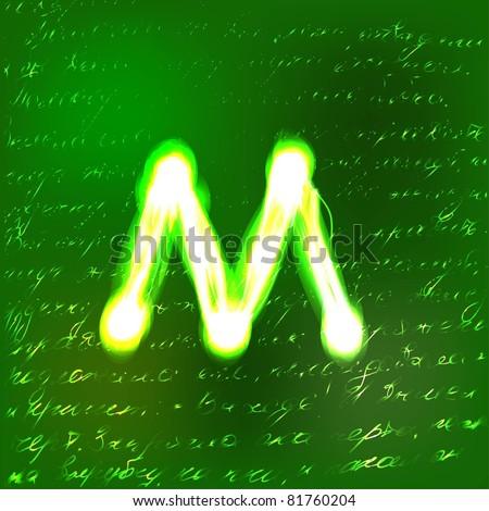 Vector alphabet. Neon letter M - stock vector