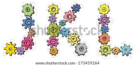 Vector alphabet of cheerful caricature hand-drawn characters consisting of spinning gears. Letters J, K, L isolated on white background - stock vector