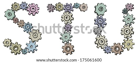 Vector alphabet of cheerful caricature hand-drawn characters consisting of spinning gears. Letters S, T, U isolated on white background - stock vector