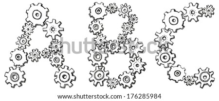 Vector alphabet of cheerful caricature hand-drawn characters consisting of spinning gears. Letters A, B, C isolated on white background - stock vector