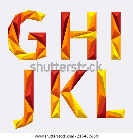 Vector alphabet of polygons. G, h, i, j ,k , l. Orange yellow ABC. - stock vector