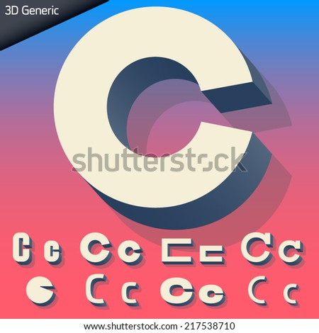 Vector alphabet of simple and generic 3d letters. Letter c - stock vector