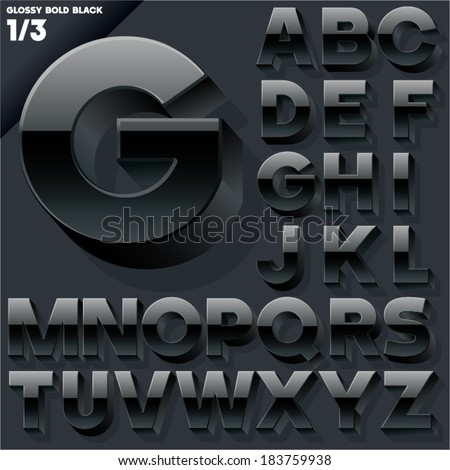 Vector alphabet of simple 3d glossy letters. Sans bold.  Black Upper cases - stock vector