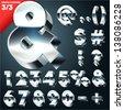 Vector alphabet of simple 3d letters. Sans bold. Symbols Chrome - stock photo