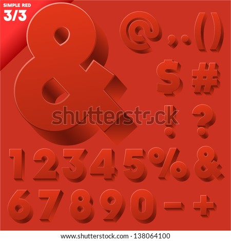 Vector alphabet of simple 3d letters. Sans bold. Symbols Red - stock vector