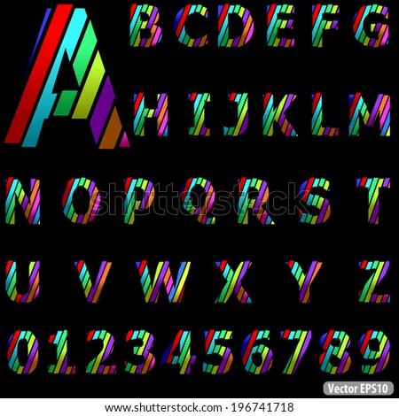 Vector Alphabet Set, A, B, C, D, E, F, G, H, I, J, K, L, M, N, O, P, Q, R, S, T, U, V, W, X, Y, Z in different colors - stock vector