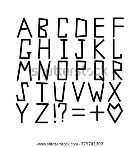 Vector Alphabet Set ABC Irregular Strict Letters Modern Minimalistic Font Creative Typography