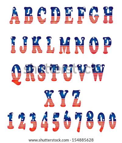 Vector alphabet set american style - stock vector
