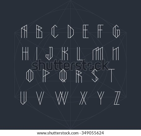 Vector alphabet set. Geometric font - stock vector