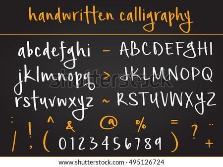 Vector alphabet set. Hand written calligraphy. Vector letters, numbers and symbols.
