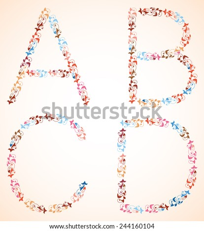 Vector alphabet, set of capital letters A B C D, made of multicolor branches with spirals and leaves.  - stock vector
