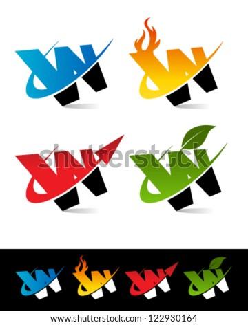 Vector alphabet set of various swoosh W logo icons - stock vector