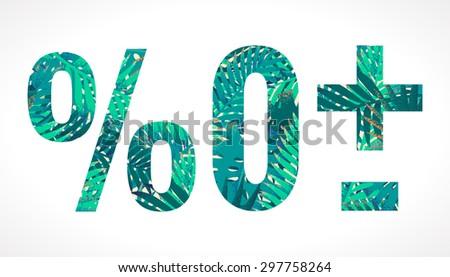 Vector alphabet set. Retro palm leaves elements. Zero, percent sign, plus sign, minus sign - stock vector