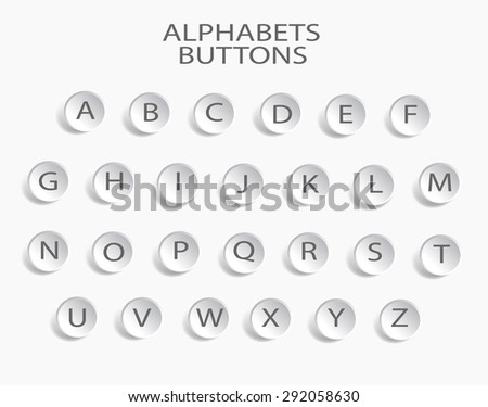 Vector Alphabet Set white shadow / Vector Alphabet Set - stock vector